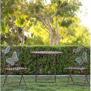 Luanne Butterfly 3 Piece Bistro Set by Wi..