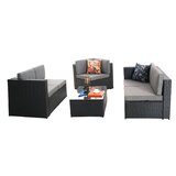 Cotswald Wicker/Rattan 5 - Person Seating Group with Cushions