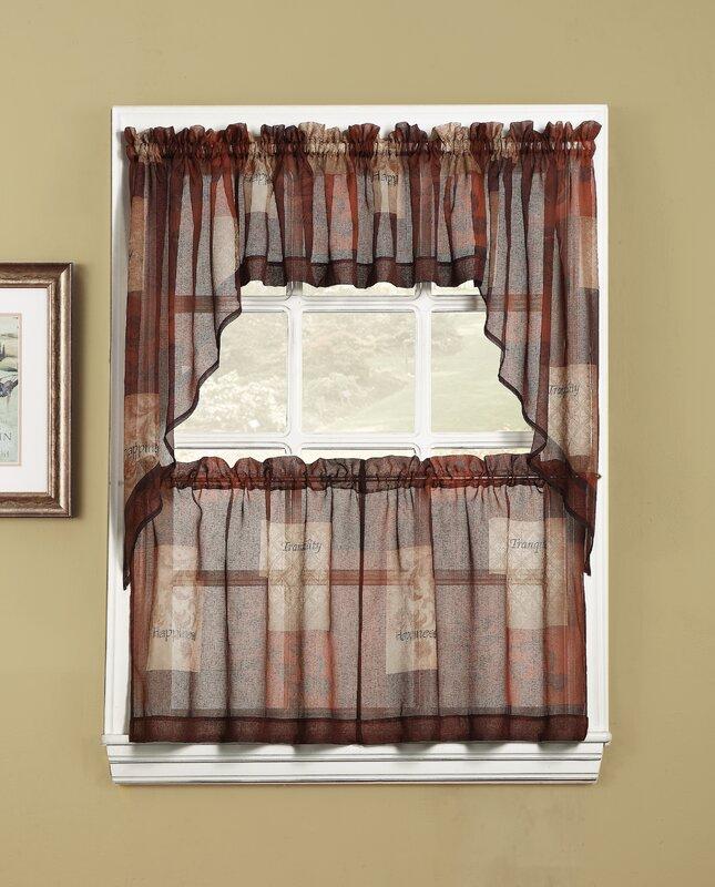 eden patchwork sheer rod pocket single curtain valance