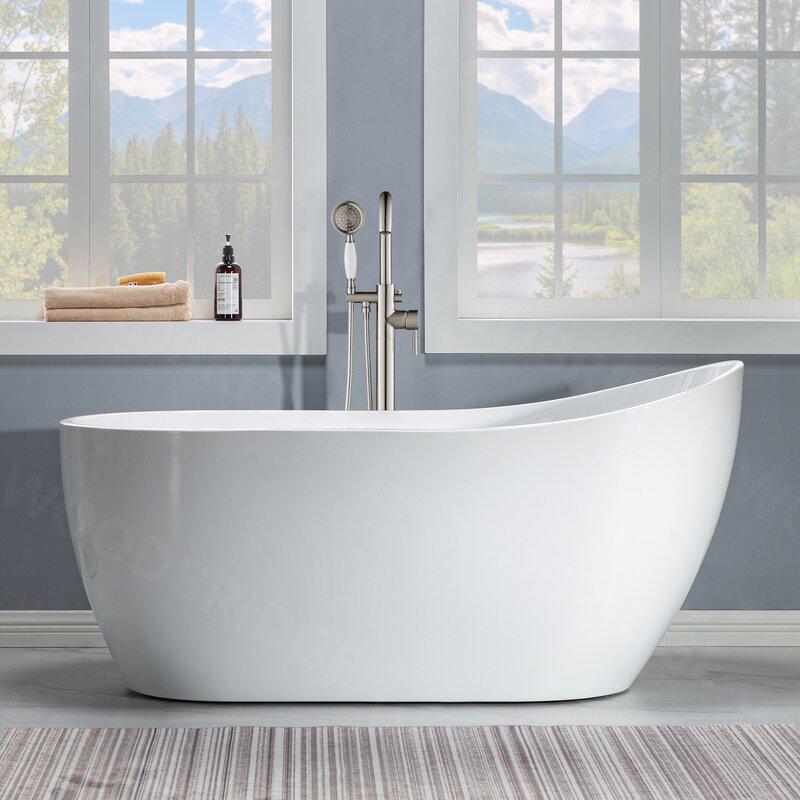 Woodbridge 59 X 28 Freestanding Soaking Acrylic Bathtub Wayfair