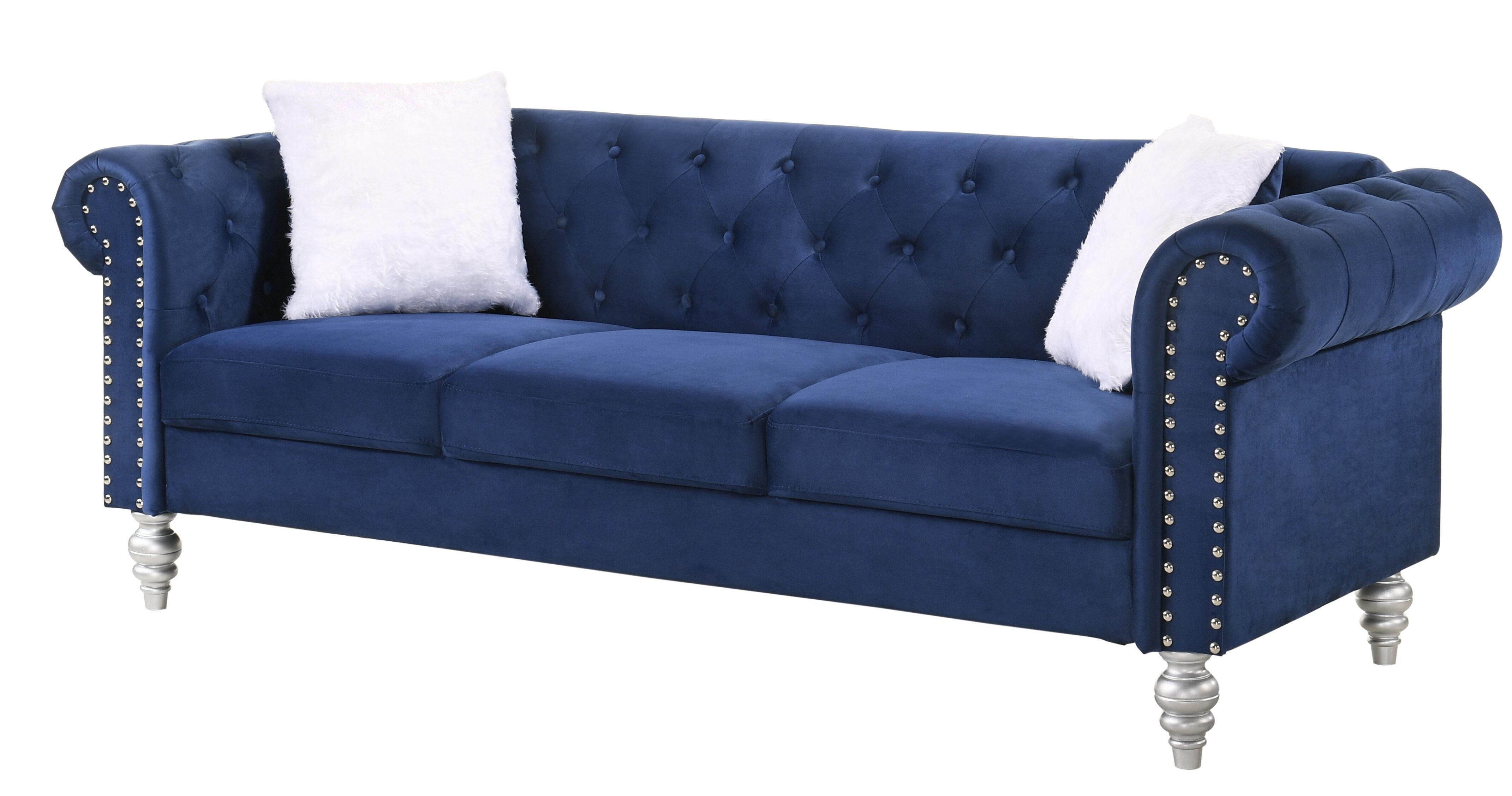 Rosdorf Park Tena Velvet 83 Wide Rolled Arm Chesterfield Sofa Reviews Wayfair