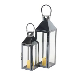 Modern Rectangular Tower Frame 2 Piece Lantern Set