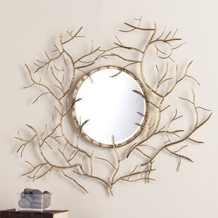 Bucher Round Metallic Gold Branch Wall Mirror
