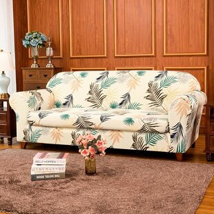 Ultra Soft Leaves Printed Stretch Box Cushion Sofa Slipcover By Symple Stuff