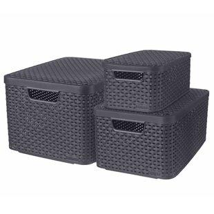 Plastic Storage Boxes (Set Of 3) By VidaXL