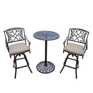 Ericka 3 Piece Bar Height Dining Set with Cushions