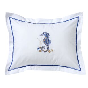 Snellville Seahorse and Shell Boudoir Cotton Pillow Cover