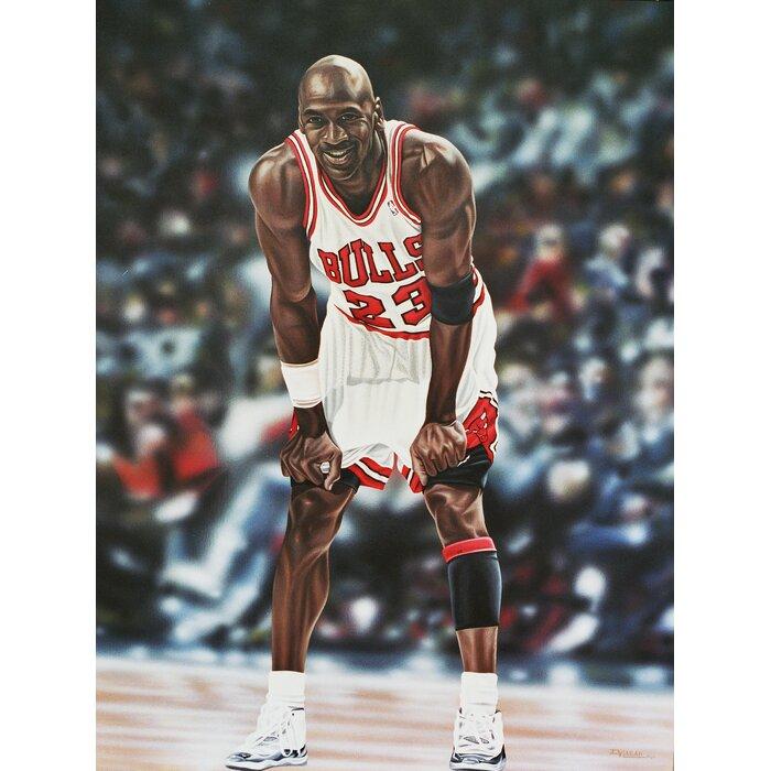 \'Michael Jordan Chicago Bulls\' Oil Painting Print on Wrapped Canvas