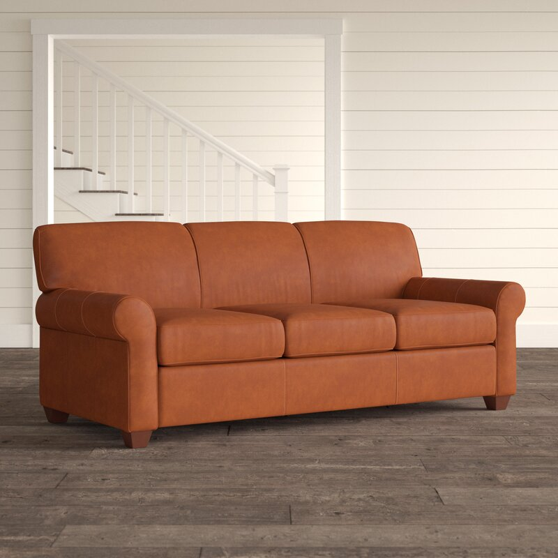 Jennifer Leather 81 Rolled Arms Sofa