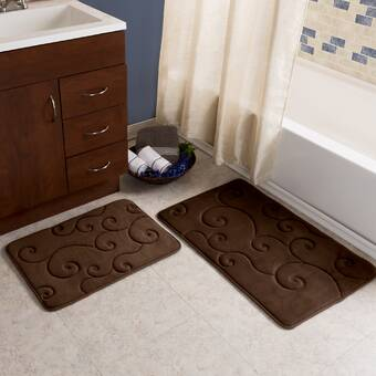 Coral Fleece Bathroom Memory Foam Rug Kit Toilet Bath Non-slip Mats Floor Casual