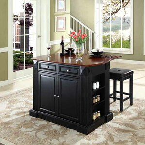 Byron Traditional Kitchen Island with Cherry Top by Beachcrest Home