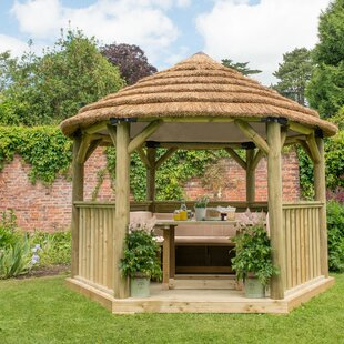 Furnished 3.8m X 3.3m Wooden Gazebo With Thatched Roof By Sol 72 Outdoor