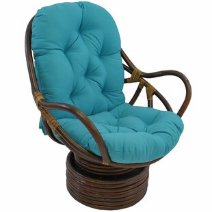 Benahid Indoor Rattan Swivel Chair with Cushion