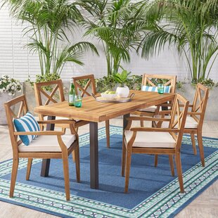 Bungalow Rose Mabie Outdoor 7 Piece Dining Set with Cushions