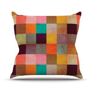 Decorative Pixel by Louise Machado Warm Patches Throw Pillow