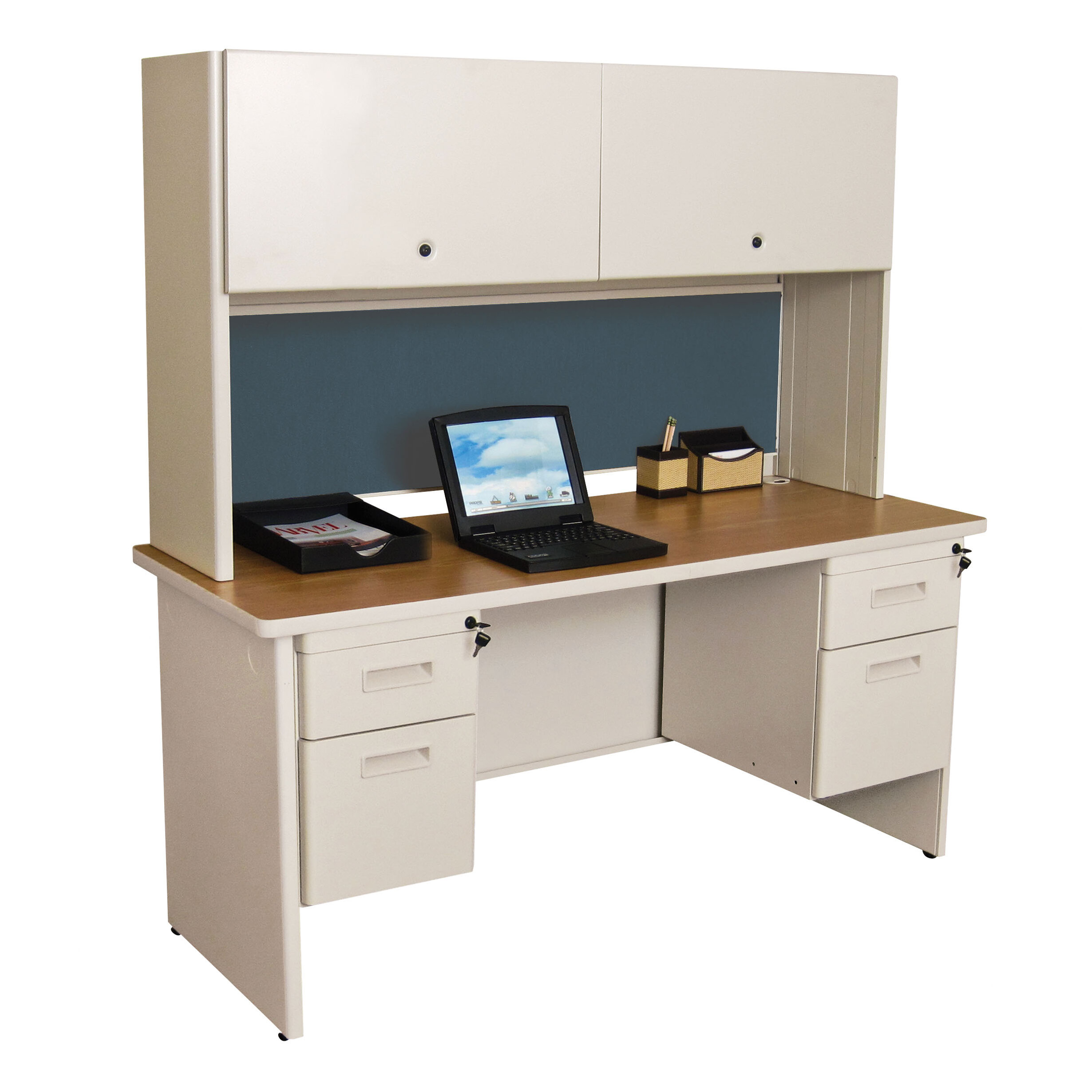 Red Barrel Studio Crivello Double File Computer Desk With Hutch Wayfair