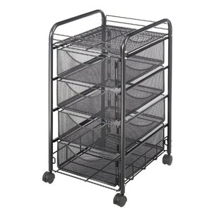 Mesh Utility Cart With Drawers By Symple Stuff