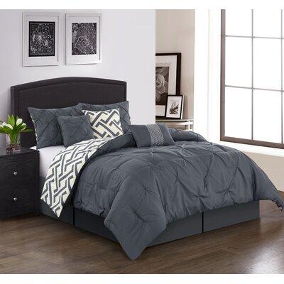 Parma 7-Piece Reversible Comforter Set Brayden Studio Color: Gray, Size: King Comforter + 6 Additional Pieces