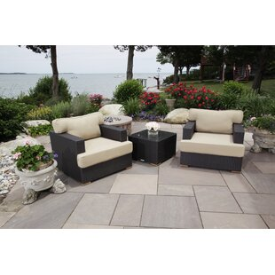 Salina Deep Rattan 2 Person Seating Group with Cushions
