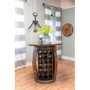 Zackary Live Edge and Glass Wine Barrel Table Bar by Loon Peak