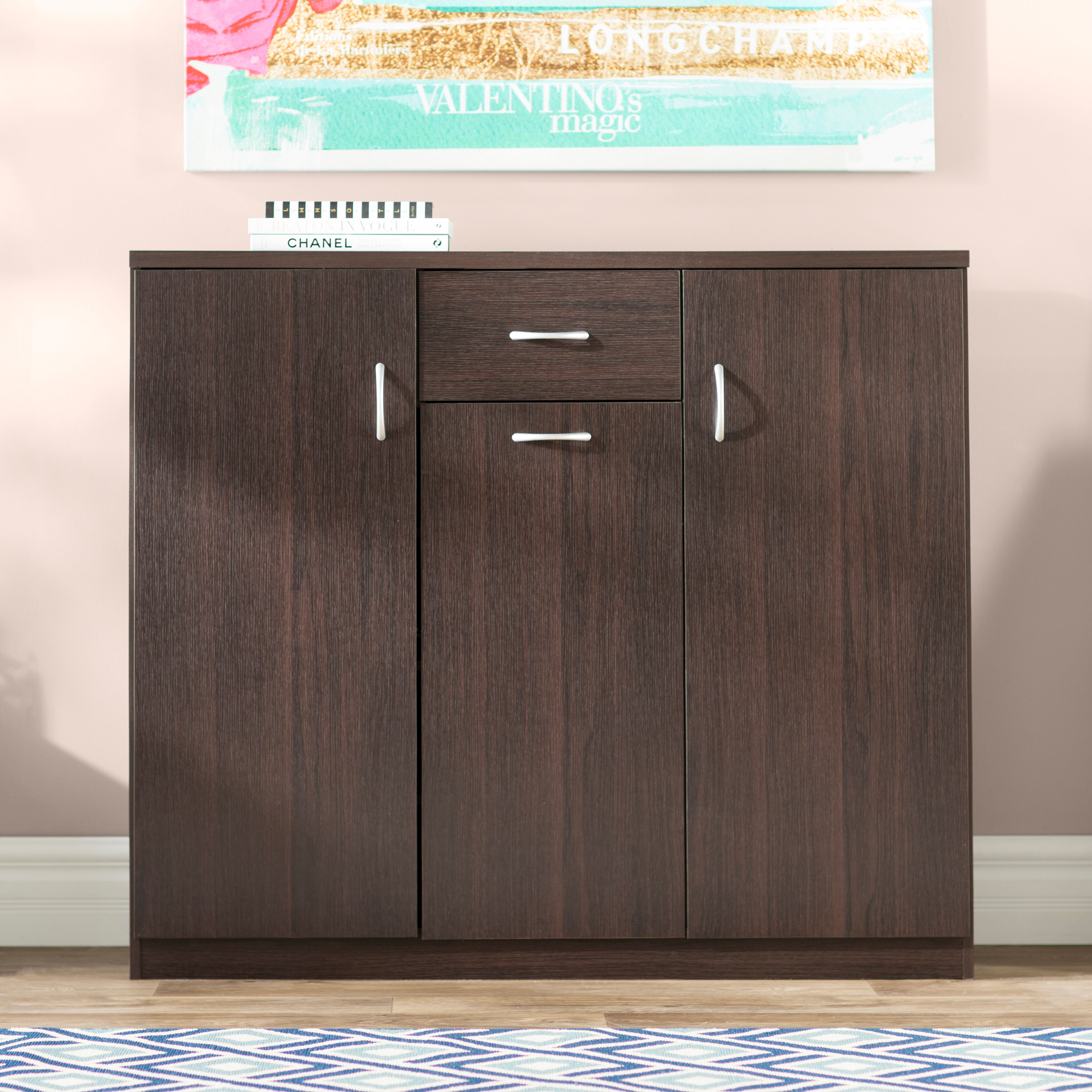 Superbe Wood 30 Pair Shoe Storage Cabinet