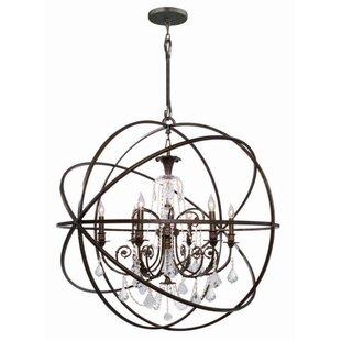 Iron candelabra chandelier wayfair rodrigues 6 light wrought iron globe chandelier aloadofball Image collections