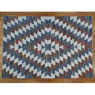 Price comparison One-of-a-Kind Bessey Handmade Kilim 9'8 x 14' Wool Blue/White Area Rug By Isabelline