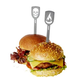 Deaths Head & Pepperoni Hamburger 2 Piece Skewer Set By Gefu