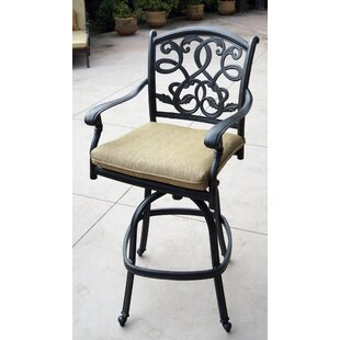 Windley Patio Swivel Bar Stools with Cushion (Set of 4) (Set of 4)