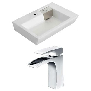 Affordable Price Ceramic 26 Wall-Mount Bathroom Sink with Faucet and Overflow ByRoyal Purple Bath Kitchen