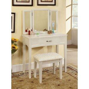 luisa vanity with mirror u0026 stool set