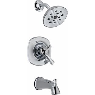 Delta Addison Pressure Balance Diverter Tub and Shower Faucet Trim with Lever Handles and Monitor