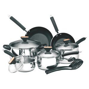 12-Piece Cecilia Stainless Steel Nonstick Cookware Set