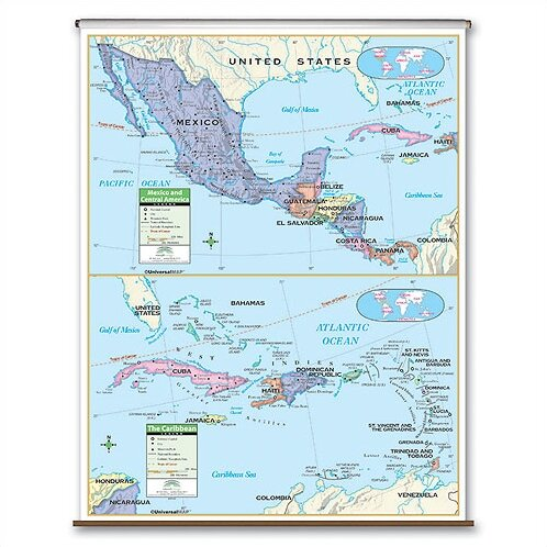 Universal Map Primary Wall Map Central America Wayfair