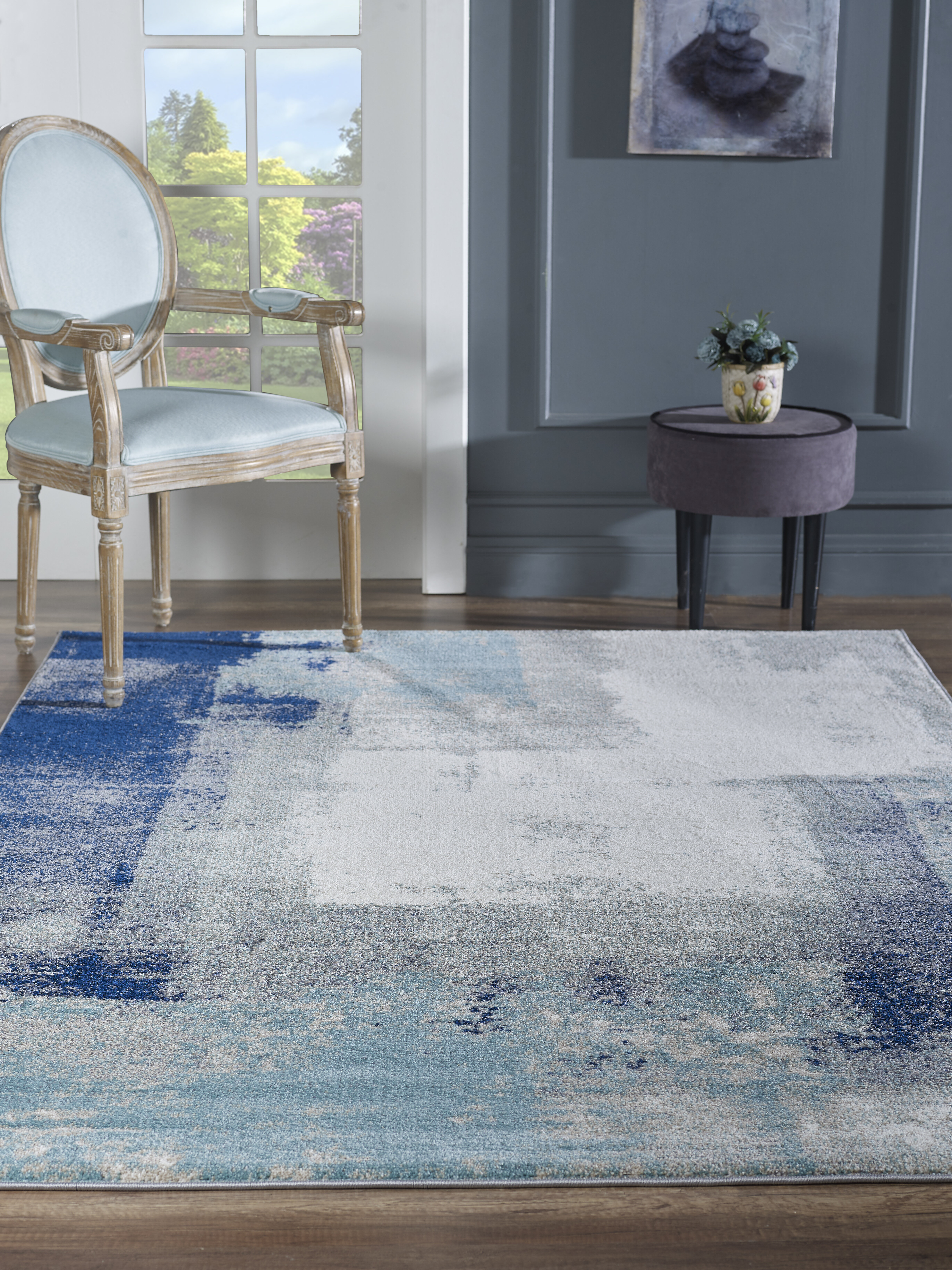 17 Stories Elrosa Abstract Blue Off White Area Rug Wayfair
