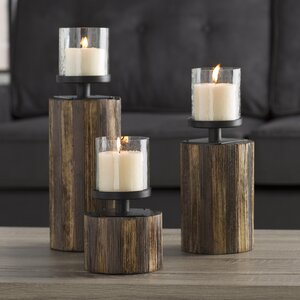 3 Piece Wood, Glass & Metal Candlestick Set