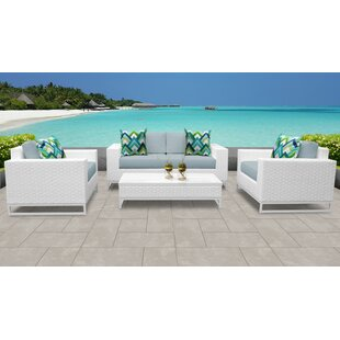 Miami Outdoor 5 Piece Sofa Seating Group with Cushions
