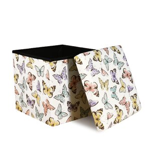 Katharine Flutter Butterfly Covered Collapsible Ottoman by Viv + Rae