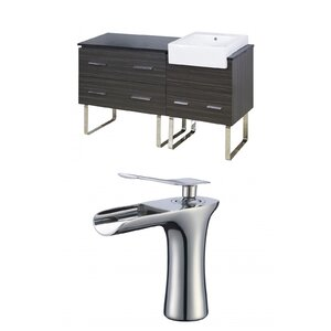 Mulberry Floor Mount 60 Single Bathroom Rectangular Vanity Set with Ceramic Top Orren Ellis