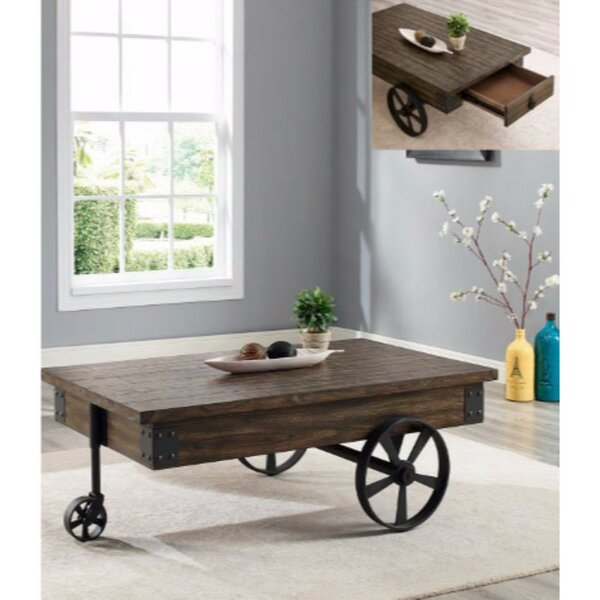 Gracie Oaks Castlebourne Wagon Wheel Coffee Table With Storage Reviews Wayfair