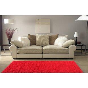 Armina Shag Red Area Rug by Ebern Designs