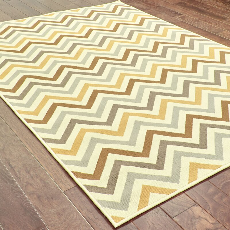 Ebern Designs Brookess Chevron Brown Gray Yellow Indoor Outdoor Area Rug Reviews Wayfair