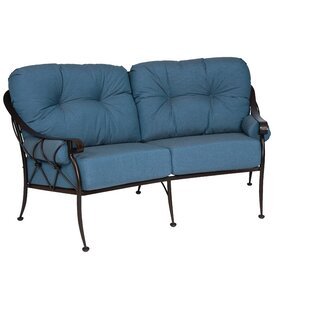 Derby Crescent Loveseat with Cushions by Woodard