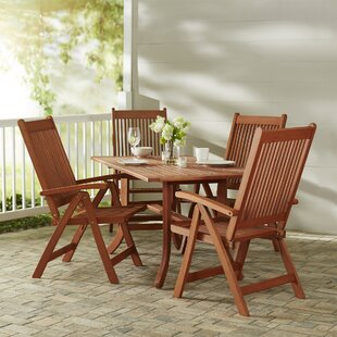 Beachcrest Home Monterry 5 Piece Eucalyptus Wood Dining Set