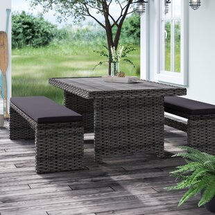 Tergel Low Patio 3 Piece Dining Set with Cushion