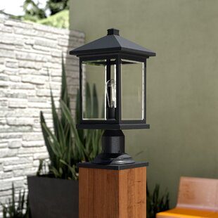 17 Stories Leroy Outdoor 1-Light Beveled Glass Pier Mount Light