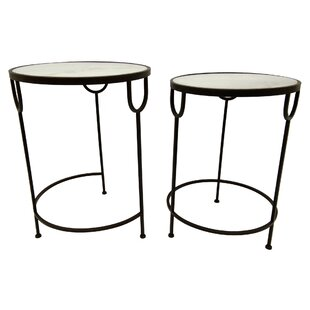 Azu Metal Marble Top 2 Piece Nesting Tables