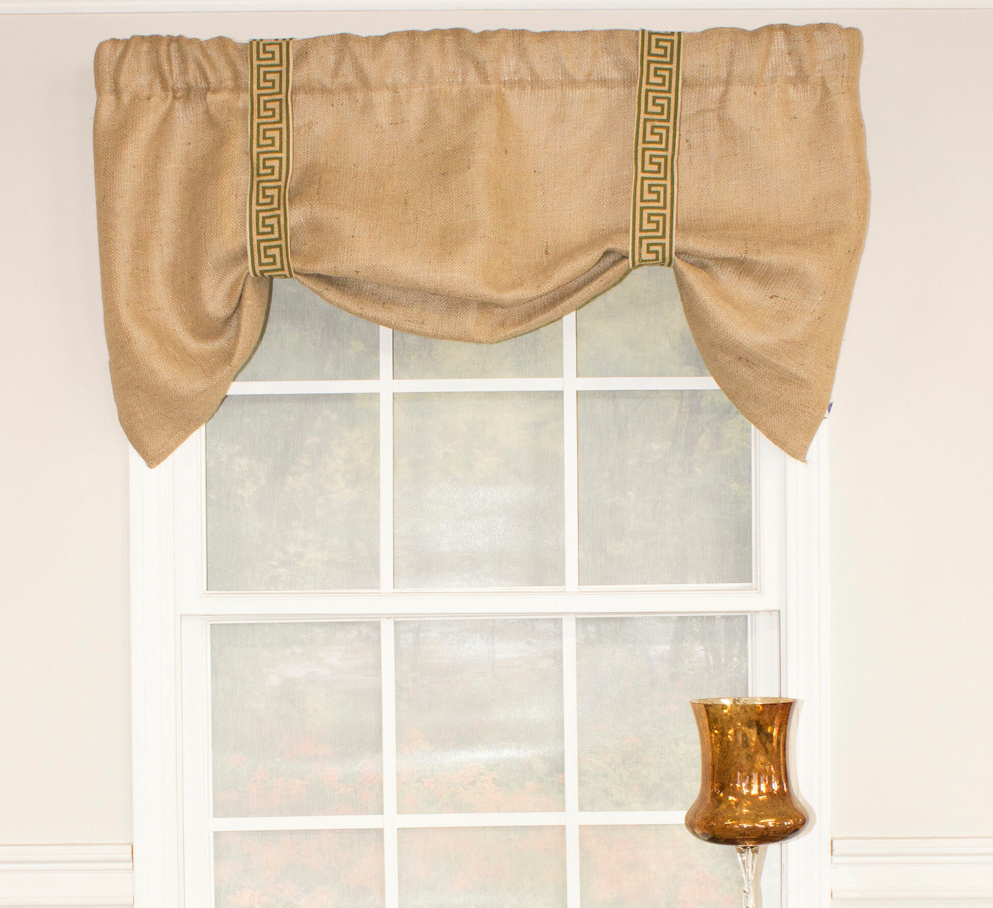 rlf home burlap suspender 50 window valance reviews wayfair ca