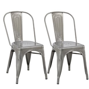 Industrial Metal Bistro Stackable Cafe Dining Chair (Set of 2)