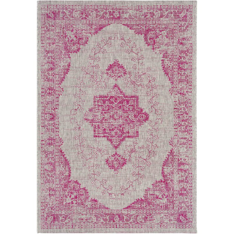 Bright Outdoor Area Rugs: Mistana Laurine Floral And Plants Bright Pink Indoor
